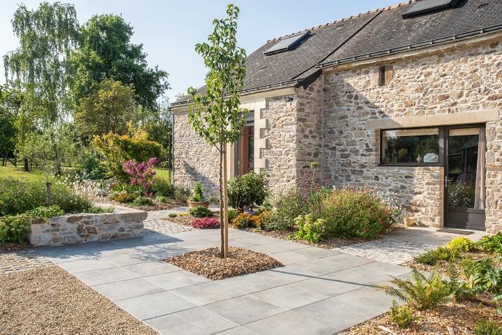DECOJARDIN Aménagement D Un Jardin Murets Pierre Terrasse Céramique Allées Pavées 1